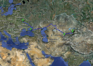 The Yaroker family's route from Kiev to Central Asia